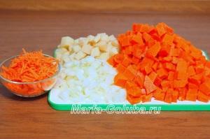 тыквенный сырный суп_2 нарезать овощи