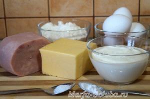 Пирог с ветчиной и сыром 1